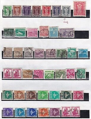 Indes India divers anciens timbres 2 planches