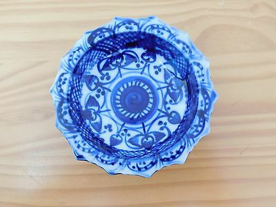 c.19th - Antique Chinese Kangxi Qing Blue & White Porcelain Footed Bowl