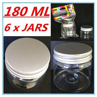 6 X Clear Plastic Screw Top Craft Project Storage Jars Jar Silver Lid 180Ml A