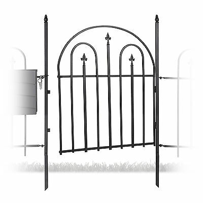 Metal Garden Gate with 2 Posts, Arches and Spikes, Garden Fence Door, Antique