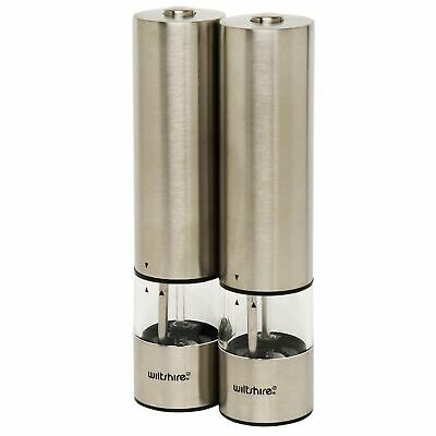 Wiltshire Electric Salt Pepper Mill Set Grinder Stainless Steel Condiment Shaker