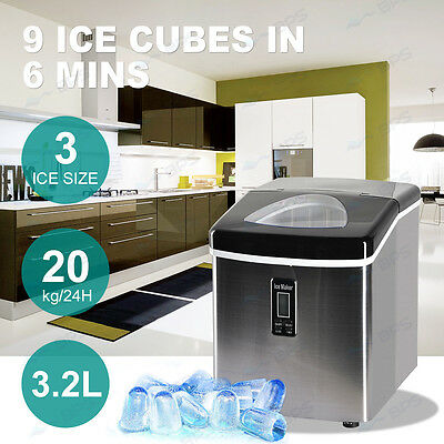 3.2L 20Kg/Day Portable Ice Cube Maker Machine LCD Display Commercial Home New UK