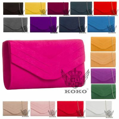 New Ladies Faux Suede Chain Strap Envelope Clutch Evening Handbag