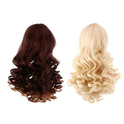 2pcs Simulation Scalp Wig Wavy Curly Hair for 18'' American Girl Doll #4+#5