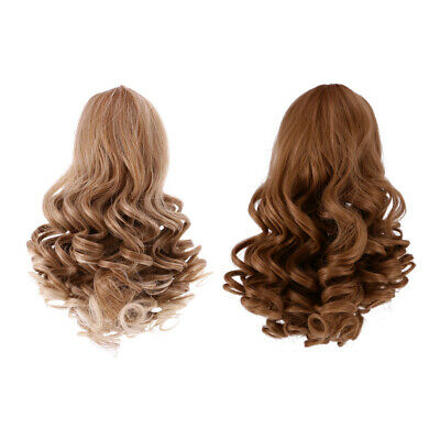 2pcs Simulation Scalp Wig Wavy Curly Hair for 18'' American Girl Doll #1+#3
