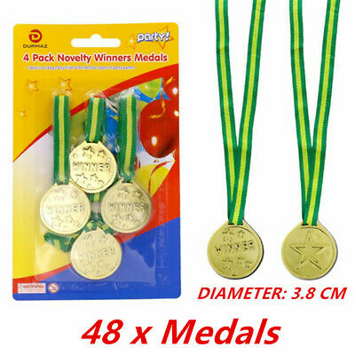 48 X OLYMPIC Gold Medals Children Kids Plastic Winner Costume Party Toys - PARTY