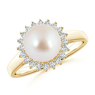 8MM June birthstone Akoya Cultured Pearl Ring with Diamond Halo 14k Yellow Gold