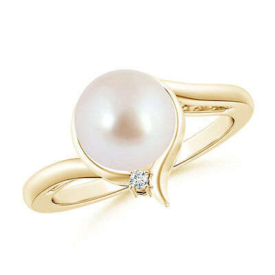 Contemporary 8MM Akoya Cultured Pearl Solitaire Ring & Diamond 14K Yellow Gold
