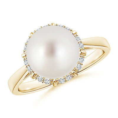 South Sea Cultured Pearl With Diamond Halo Victorian-style Ring 14K Yellow Gold
