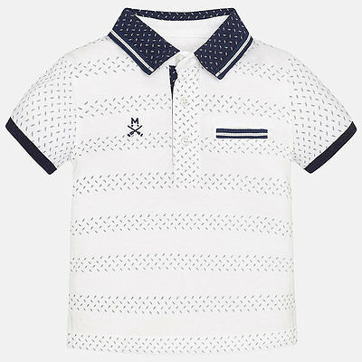 Spanish Designer MAYORAL Baby Boys short sleev print Polo Shirt White NEW SEASON
