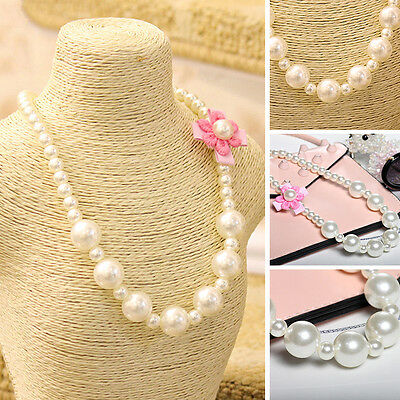 Beads Girls Imitation Pearls Children Necklace Lovely Jewelry Flowers Shape
