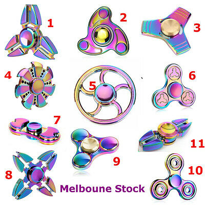 Gyro Finger Spinner Fidget Alloy Toy Rainbow Hand Spinners For Kids Autism Gifts