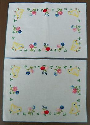 Vintage Set of 2 Hand Embroidered Easter Placemats Chicks Eggs Flowers