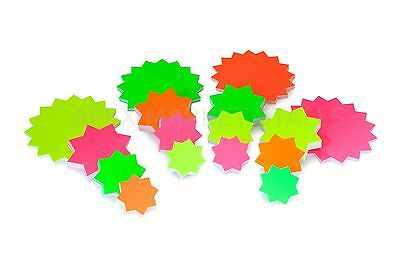 Neon Fluorescent Stars Price Display Sales Cards day glo Labels Shop Starburst
