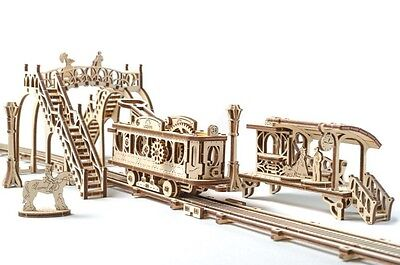 UGears Mechanical Town Tram Line wooden  KIT 3D puzzle Assembly, Self-propelled