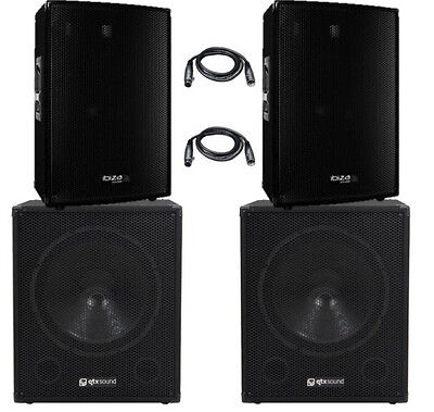 Ibiza Sound Active 3800W PA System DJ Disco Sound System Powered Package