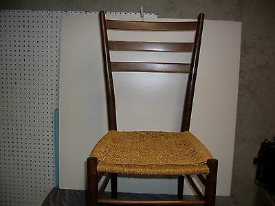 Vintage Ladderback Side Chair. Woven rush seat, quality-craft Italian style-nice