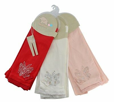 Kids Sparkly butterfly Footless Tights  age 3 to 6 yearsRed Ivory & Peach