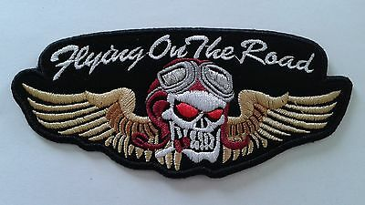 "1 pc SMALL SIZE SKULL SCARF PILOT WING BIKER EMB.PATCH W.5.5"" SEW/IRON-ON"