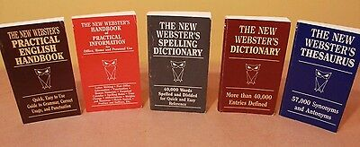 The New Websters Vintage Dictionary Thesaurus Five 5 Book Bundle Pocket Size Ref