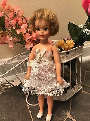 Vintage Ideal Pepper Doll Wearing Tagged Tammy Dress , Underwear And Shoes.