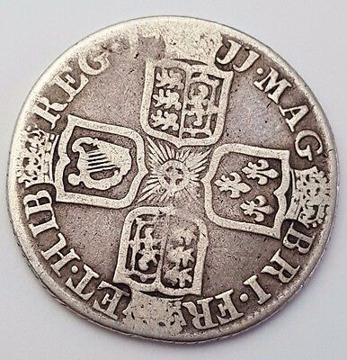 Dated : 1711 - One Shilling - Silver Coin - Queen Anne - Rare - Great Britain