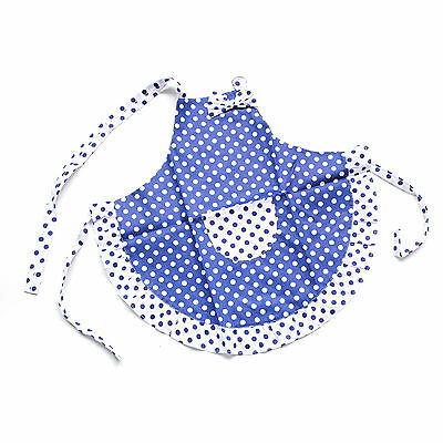 Kid Child Cotton Apron Princess Blue White Dot Bow Frill Adjustable