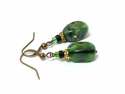 Vintage Venetian green givre glass bead earrings - to match 50s necklaces