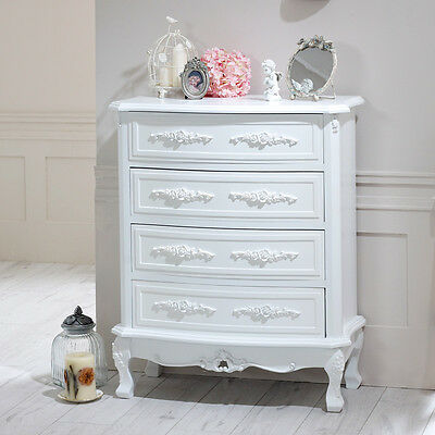 White rose design chest of drawers vintage style home furniture bedroom white
