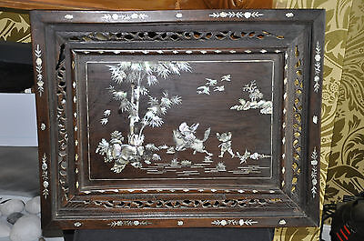 An Unusual Qing Dynasty Mother of Pearl Huanghuali - Inlaid Wall Screen