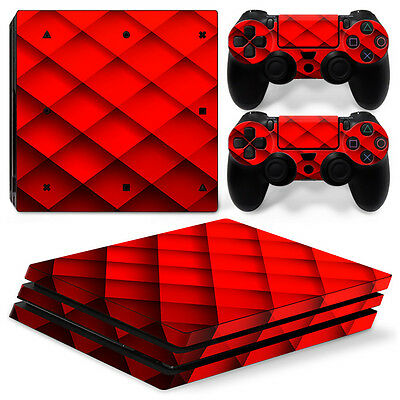 PS4 Pro Playstation 4 Skin Decal Sticker Red Diamond + 2 Controller Design Set