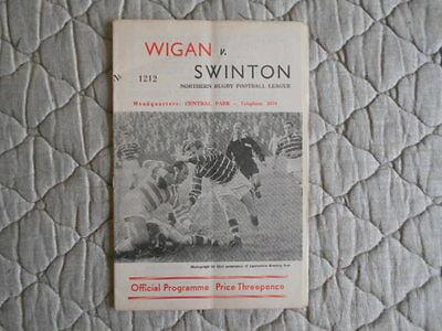 1961/62 Wigan V Swinton Rugby League Match Programme