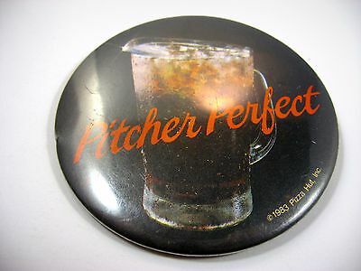 Vintage Pin Button: Pitcher Perfect 1983 Pizza Hut Advertising