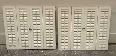 "26 5/8"" T x 30"" W VTG Colonial Wood Interior Louver Plantation Window Shutters"
