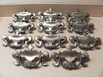 (11) Vintage Brass Finish Drawer Pulls / Handles -- Original Screws Included