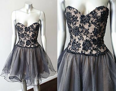 Sheri Hill Sweetheart Beaded Lace Nude Black Tulle Party Formal Prom Dress S 02