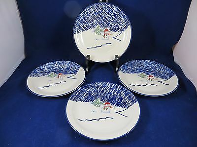 THOMSON POTTERY SNOWMAN Christmas Set of 4 Lunch Salad Plates 7 .75 ...