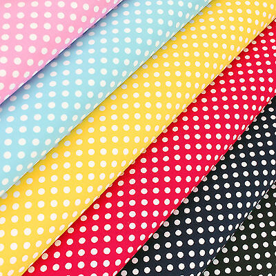 Cotton Fabric FQ 6mm Classic Polka Dot Spot Vintage Retro Print Dress Craft VS26