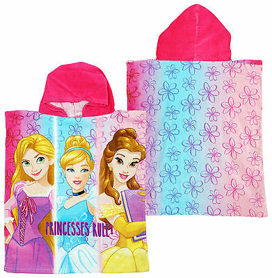 Girls Towel Poncho Bath Hoody Disney Princess Rapunzel Belle Hooded 2 to 8 Years