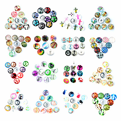 wholesale bulk lots mix styles ginger 18mm glass round snap Jewelry chunk charms