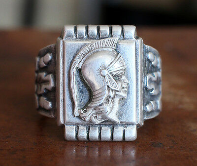 Vintage Russian USSR 875 Silver Men's Ring with star mark Ancient warrior 16,6 g
