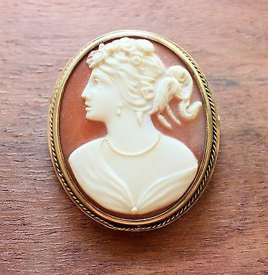 Vintage Soviet Russian Silver 875 Cameo Pin Brooch Lady Carved Shell Gold Plated