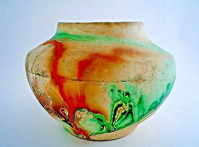 Vintage Nemadji Pottery Vase USA Signed with early Hand Imprinted Name