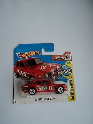 RARE RED Hot Wheels Ford Escort, '70 RS 1600, 2016 Speed Graphics