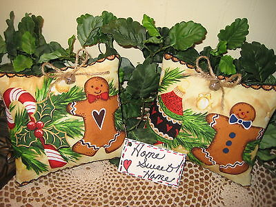 2 Christmas handmade Gingerbread fabric Shelf Sitters bowl fillers Home Decor
