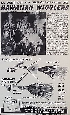 """Vintage 1953 Ad(Odl13)~Fred Arbogast """"hawaiian Wigglers"""" Fishing Lures"""