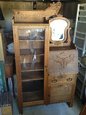 Antique Tiger Oak Side-by-Side Secretary Desk Bookcase