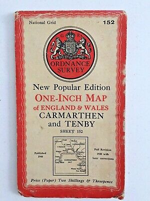Vintage Ordnance Survey One Inch Map Carmarthen & Tenby Sheet 152 Published 1946