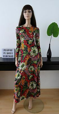 Robe vintage 70's longue fleurie taille 38 / uk 10 / us 6