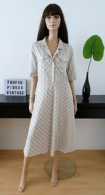 Robe vintage beige rayures blanches taille 44 / uk 16 / us 14